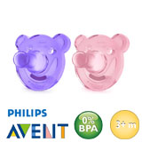 Chupetes Philips Avent Soothie, redondos, silicona, talla 2 (rosa, lila)