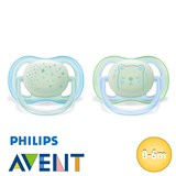 Chupetes Philips Avent Ultra Air Night, simétricos, talla 1