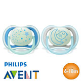 Chupetes Philips Avent Ultra Air Night, simétricos, talla 2